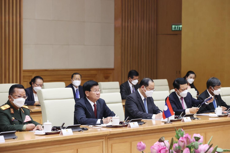 Thủ tướng Phạm Minh Chính hội kiến Tổng Bí thư, Chủ tịch nước CHDCND Lào