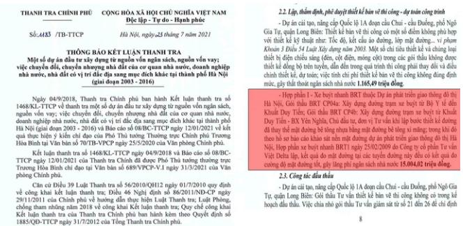 Thanh tra Chính phủ: Dự án buýt nhanh BRT tại Hà Nội sai phạm hơn 43,5 tỷ đồng