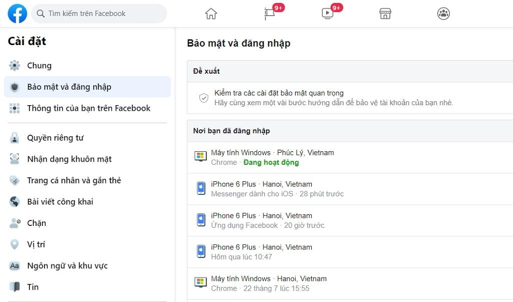 Cách kiểm tra tài khoản Facebook bị người khác đăng nhập