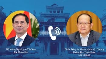Bộ trưởng Ngoại giao Bùi Thanh Sơn điện đàm với Bí thư Quảng Tây (Trung Quốc)