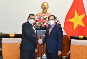 Bộ trưởng Ngoại giao Bùi Thanh Sơn tiếp Đại sứ Panama chào xã giao