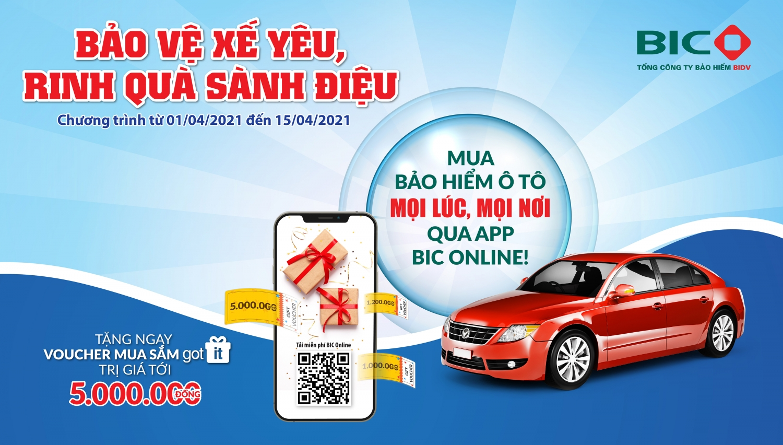 Tặng quà tới 5 triệu đồng khi mua bảo hiểm ô tô qua ứng dụng BIC Online